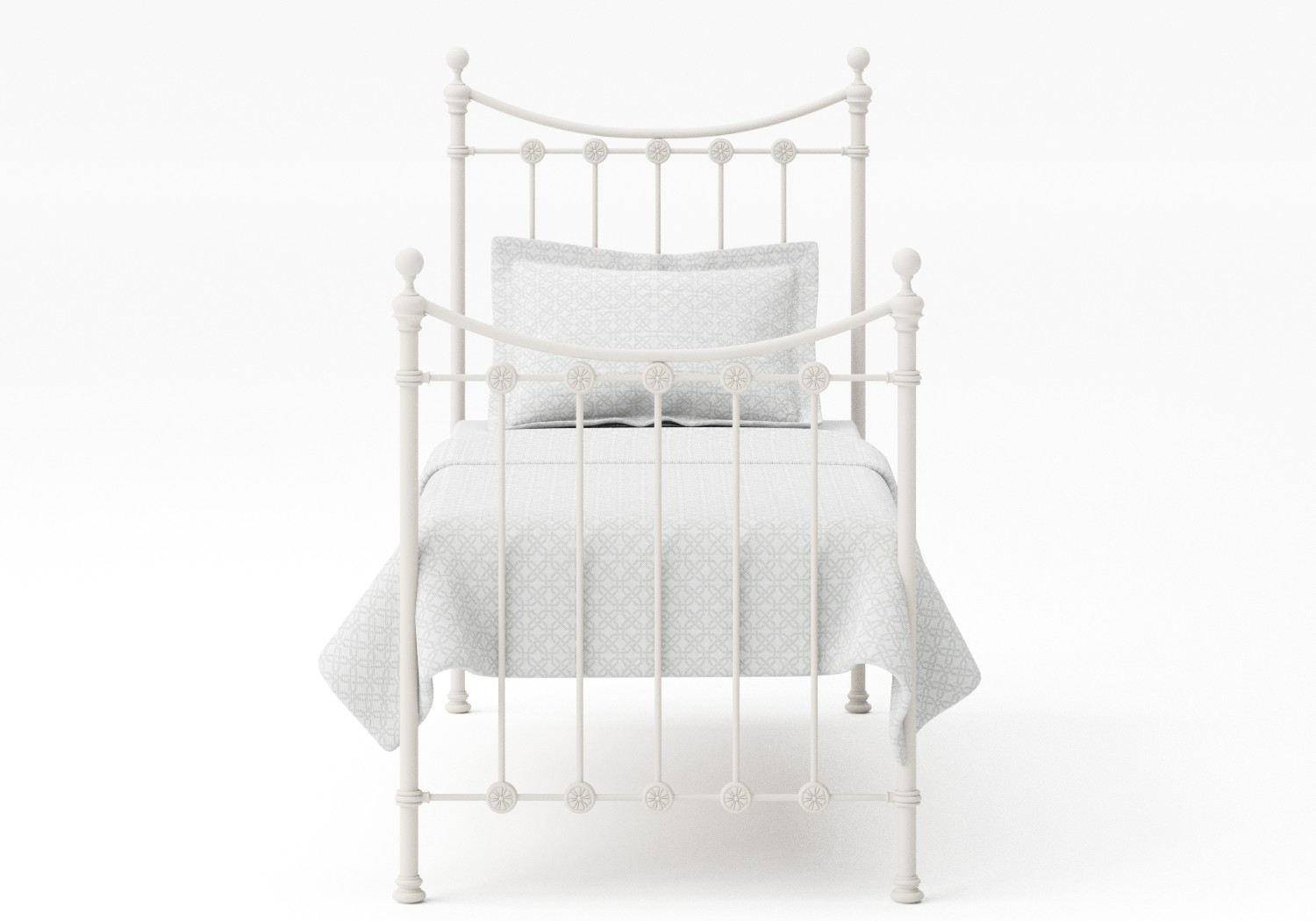 Carrick Single Iron/Metal Bed in Glossy Ivory with ivory painted details