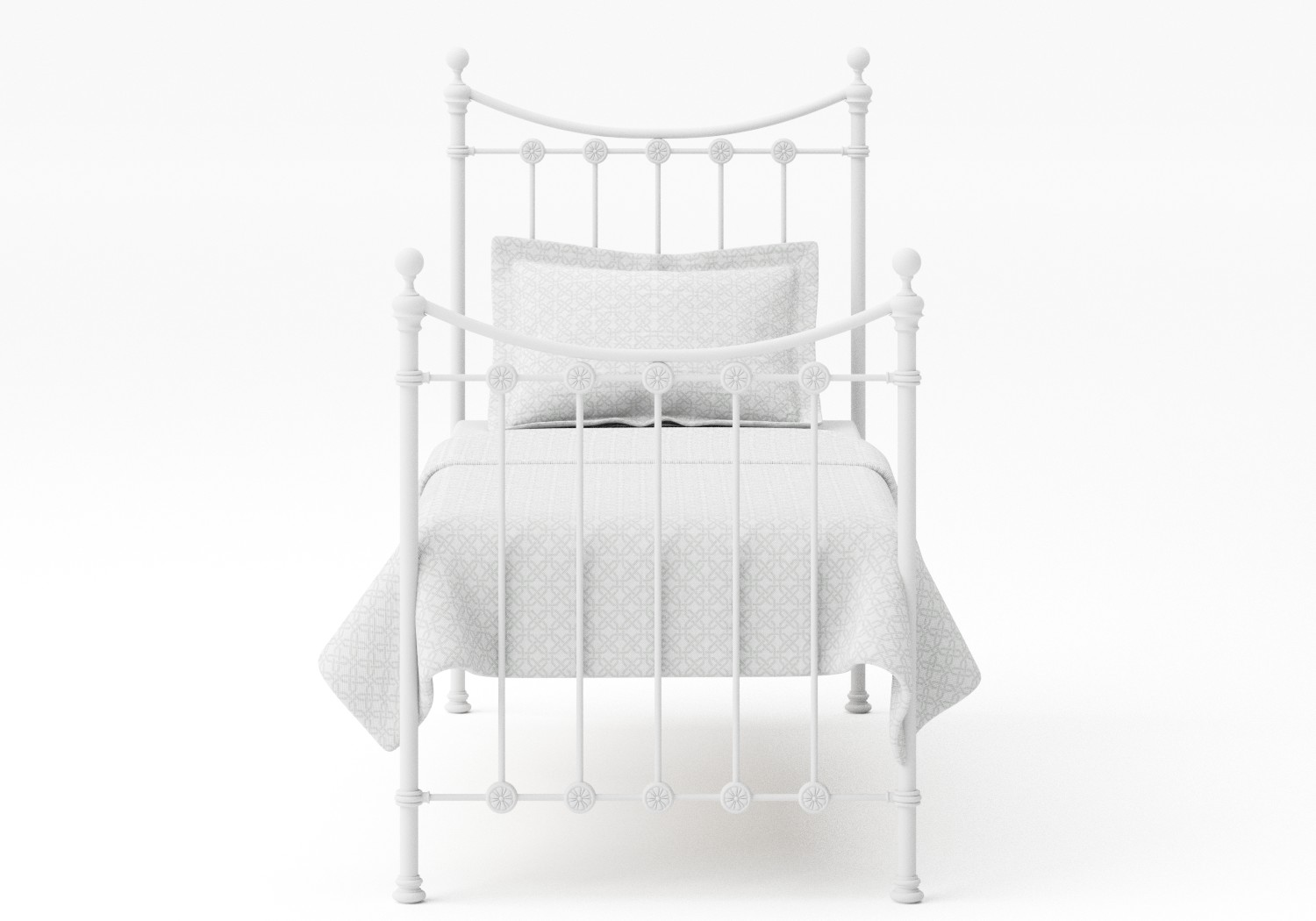 Carrick Single Iron/Metal Bed in Satin White with white painted details