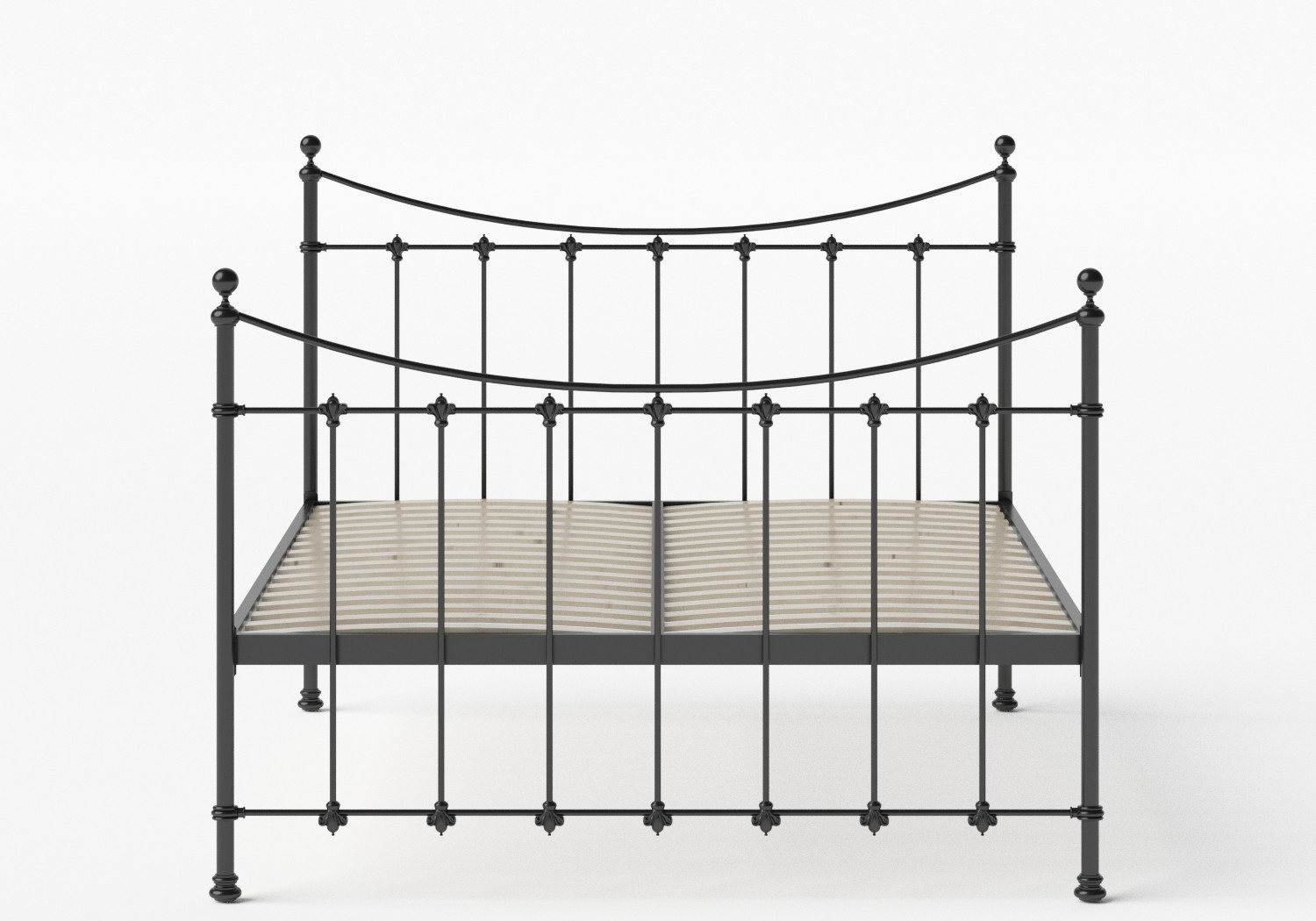 Chatsworth Iron/Metal Bed in Satin Black shown with slatted frame