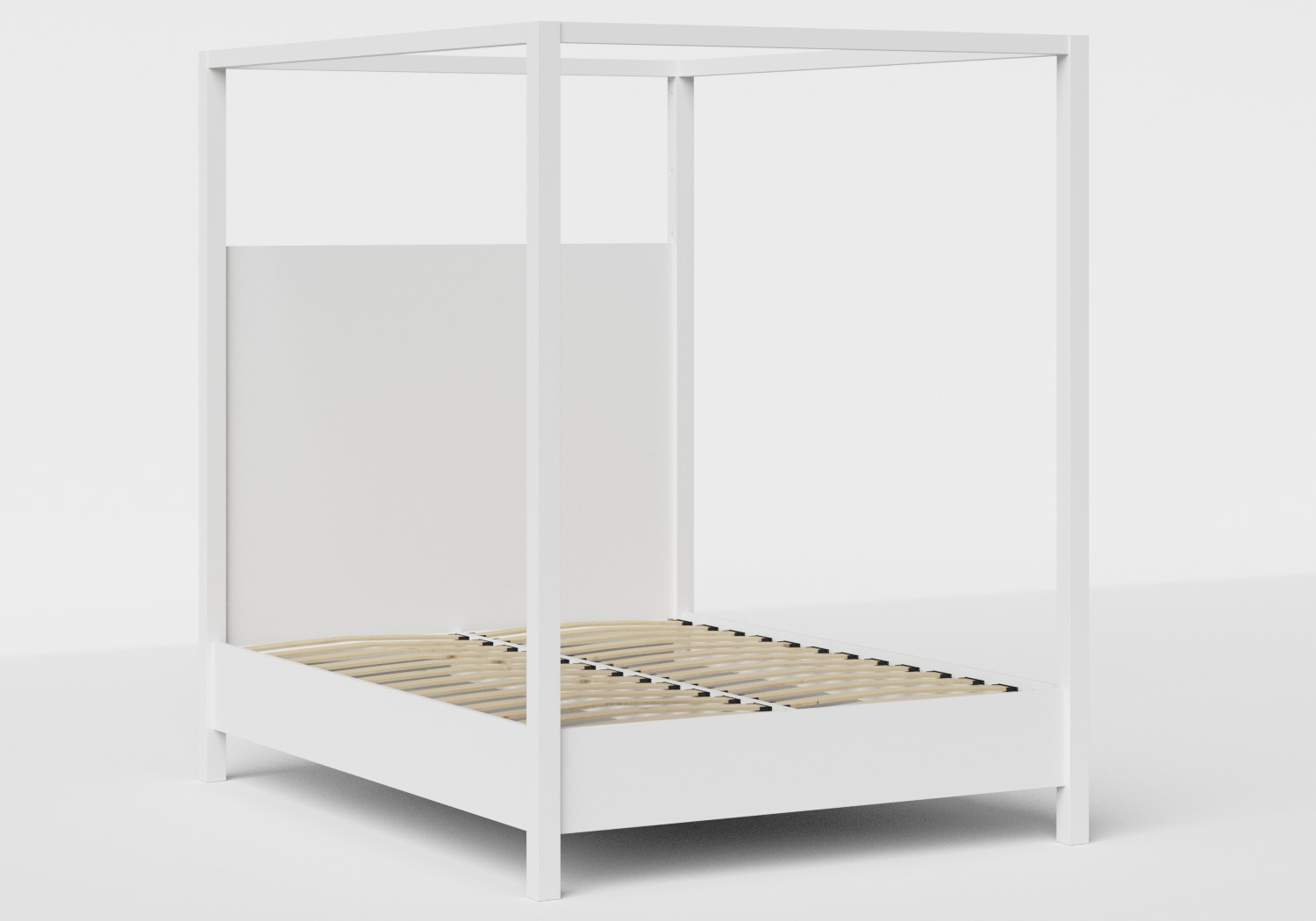 Churchill Wood Bed in White shown with slatted frame