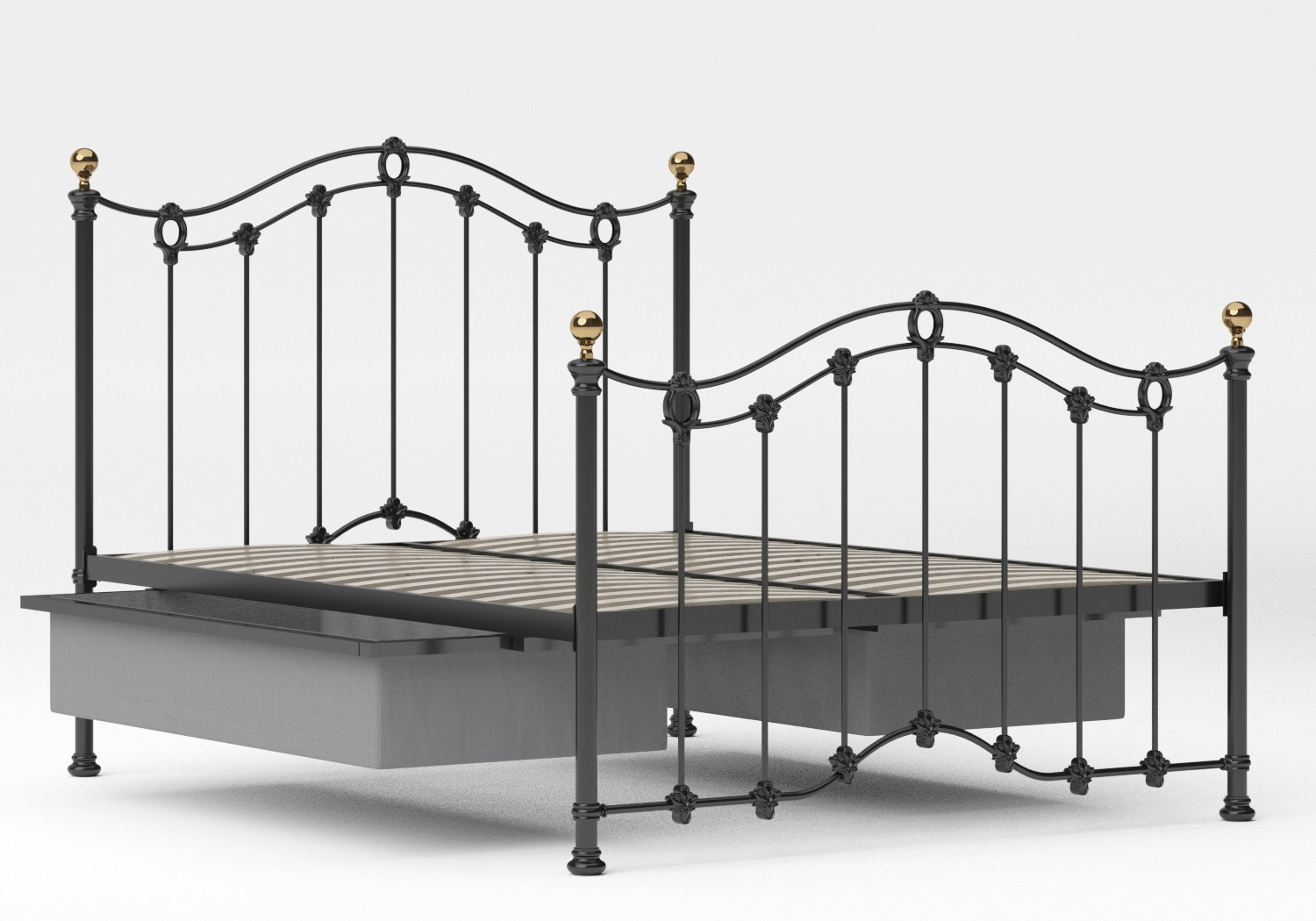 Clarina Iron/Metal Bed in Satin Black with brass details shown with underbed storage