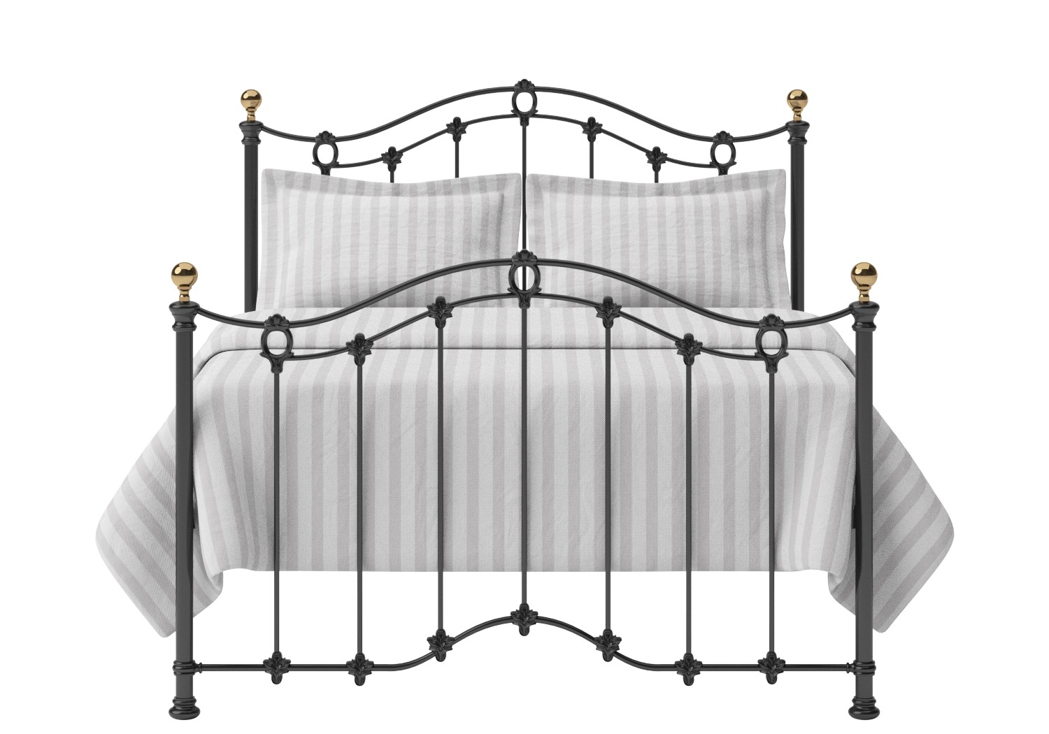 Clarina Iron/Metal Bed in Satin Black with brass details