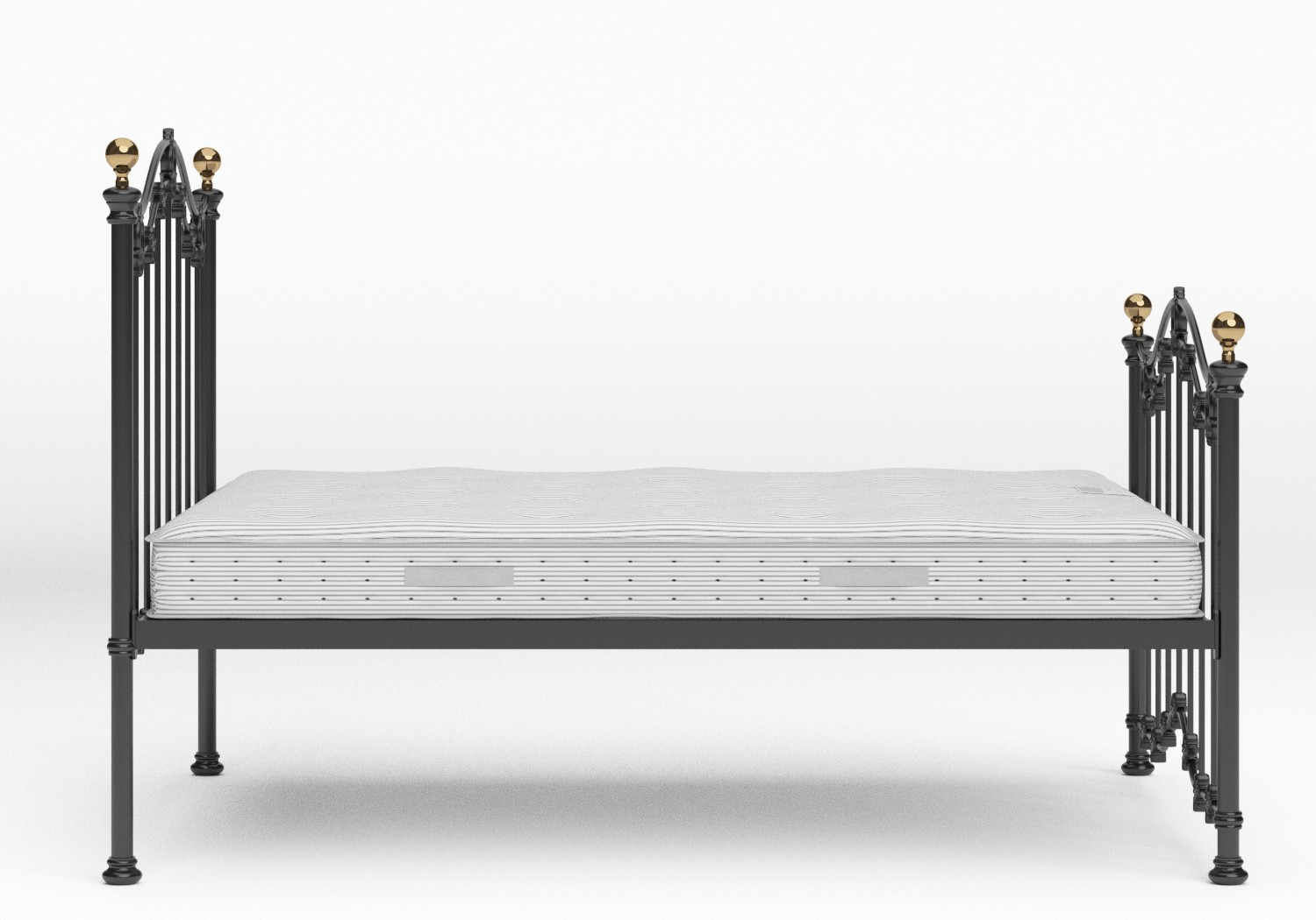 Clarina Iron/Metal Bed in Satin Black with brass details shown with Juno 1 mattress