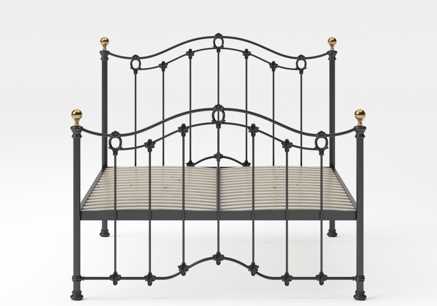 Clarina Iron/Metal Bed in Satin Black with brass details shown with slatted frame