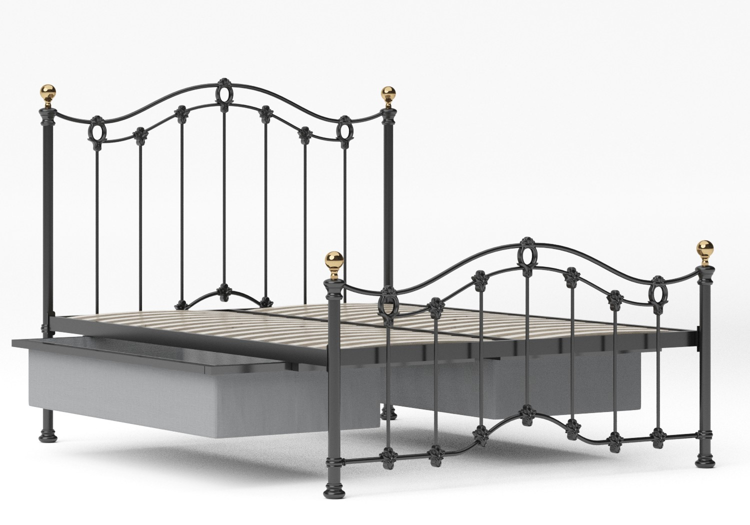 Clarina Low Footend Iron/Metal Bed in Satin Black with brass details shown with underbed storage