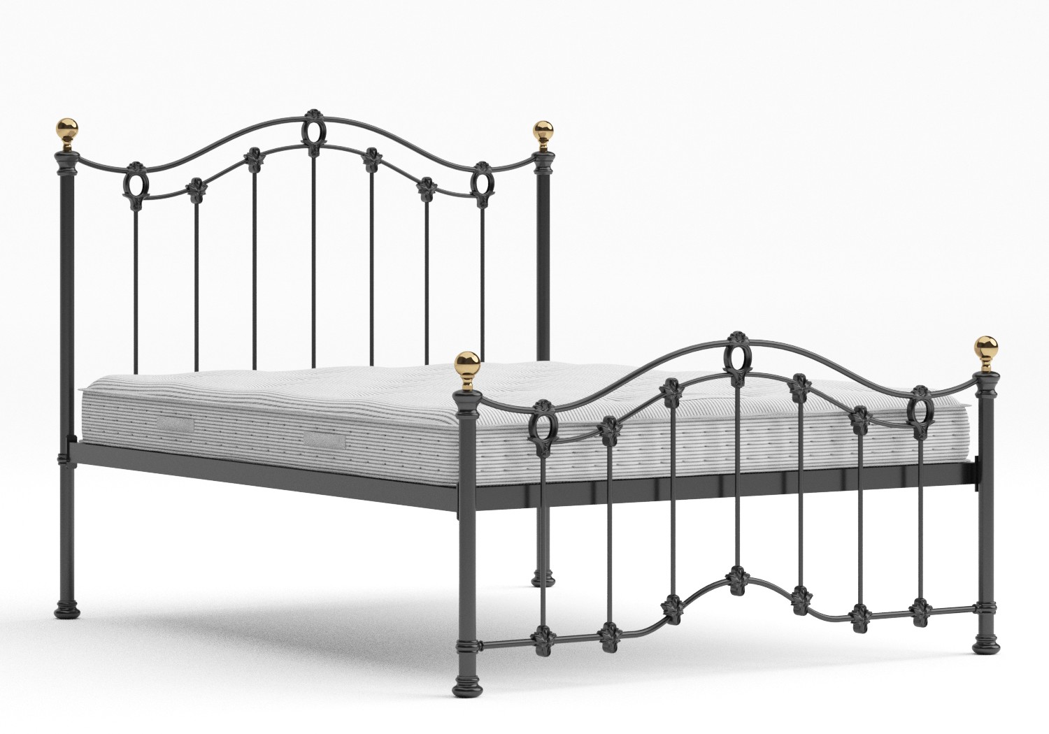 Clarina Low Footend Iron/Metal Bed in Satin Black with brass details shown with Juno 1 mattress