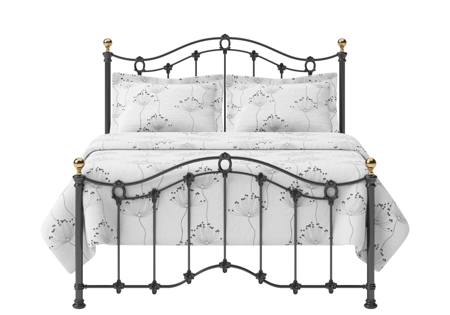 Clarina Low Footend Iron/Metal Bed in Satin Black with brass details