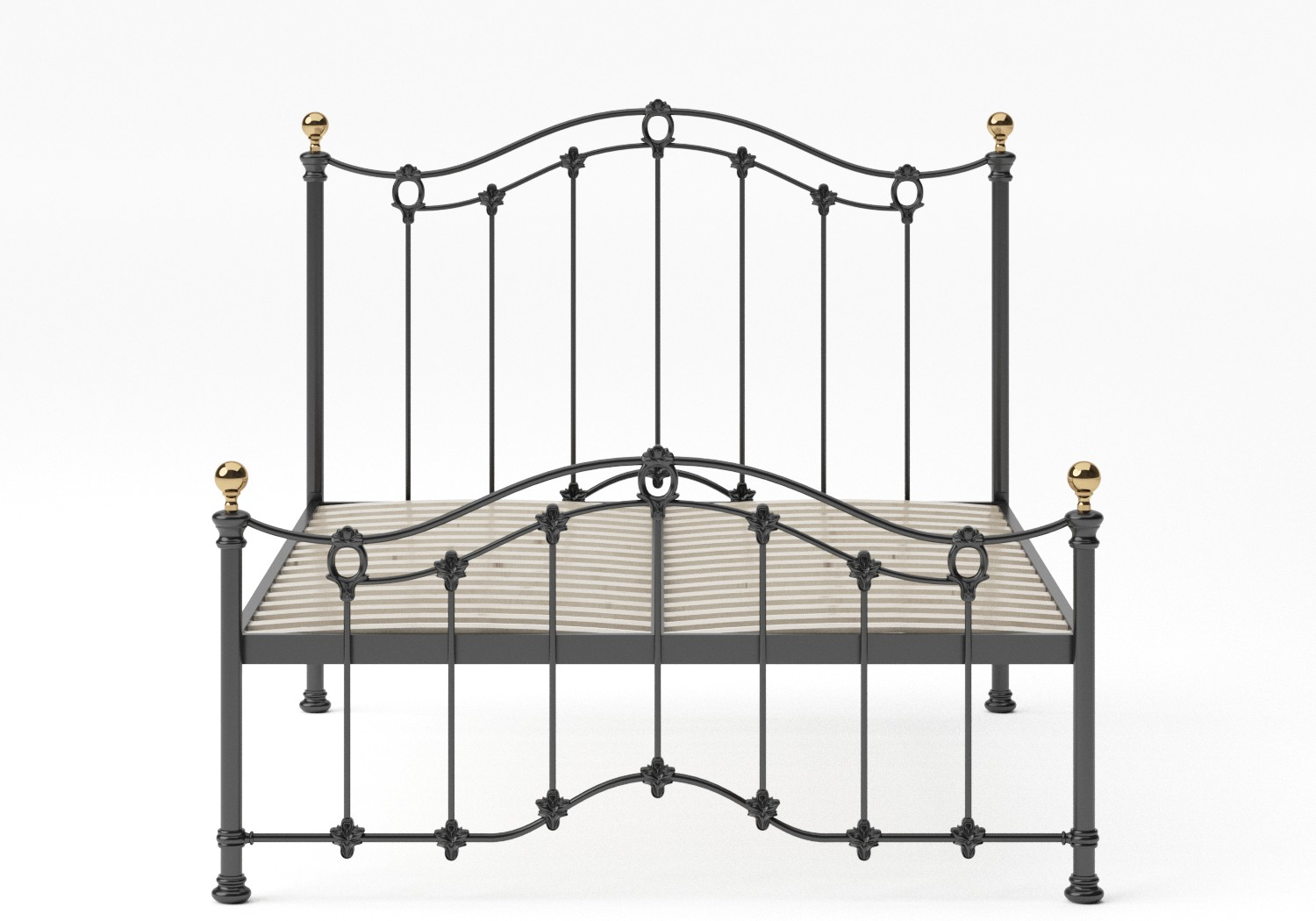 Clarina Low Footend Iron/Metal Bed in Satin Black with brass details shown with slatted frame
