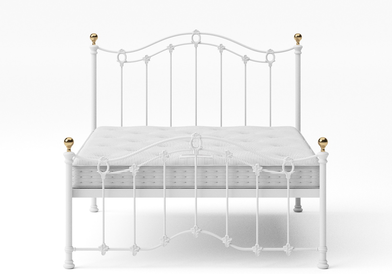 Clarina Low Footend Iron/Metal Bed in Satin White with brass details shown with Juno 1 mattress