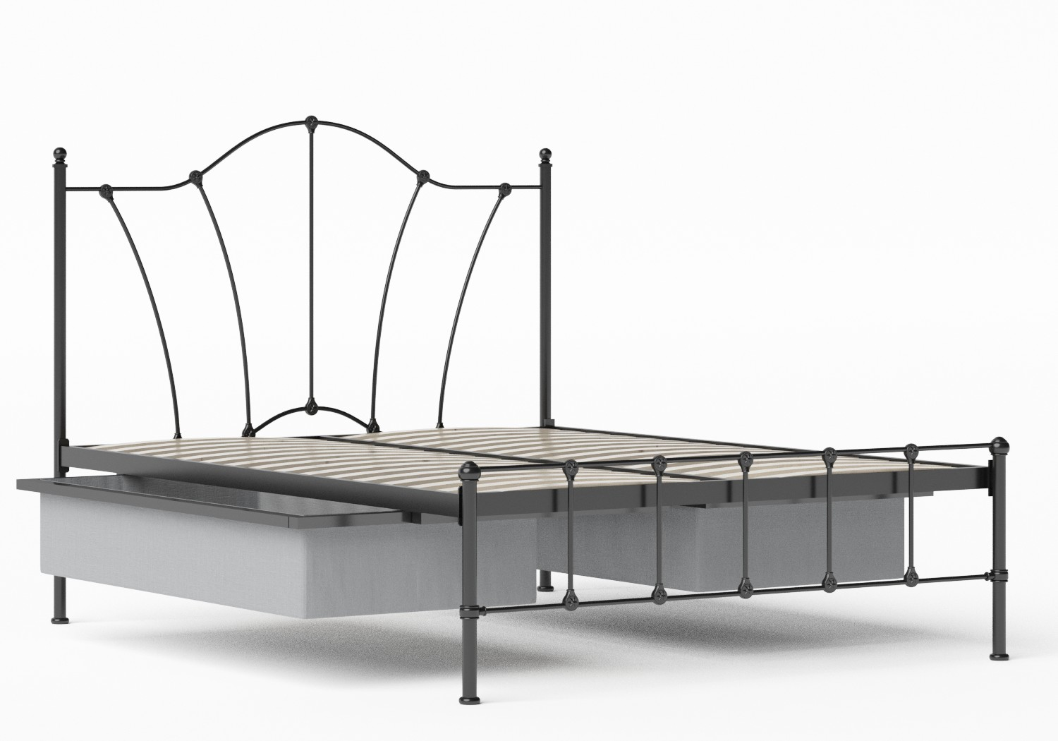 Claudia Iron/Metal Bed in Satin Black shown with underbed storage