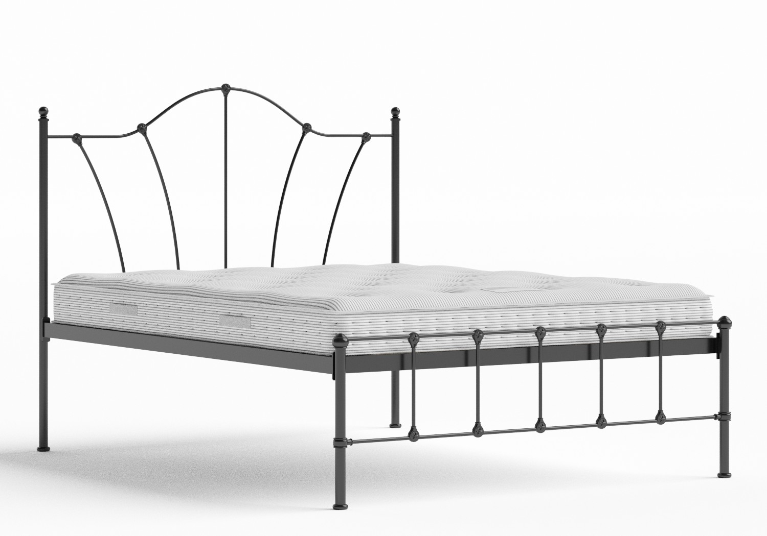 Claudia Iron/Metal Bed in Satin Black shown with Juno 1 mattress