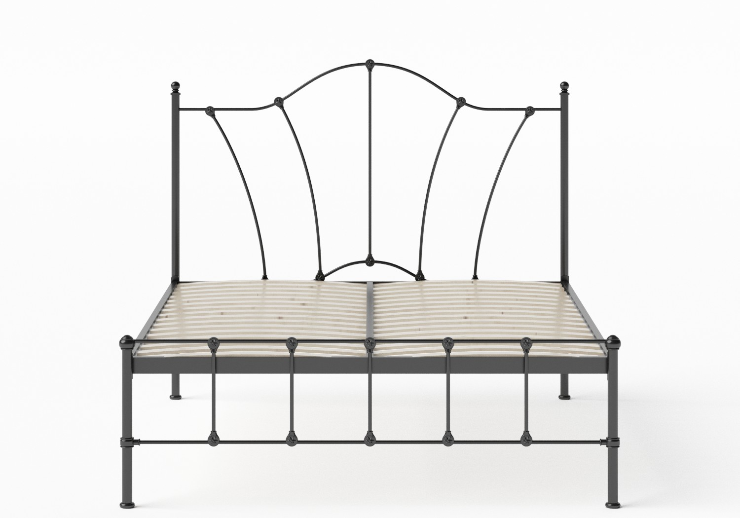 Claudia Iron/Metal Bed in Satin Black shown with slatted frame