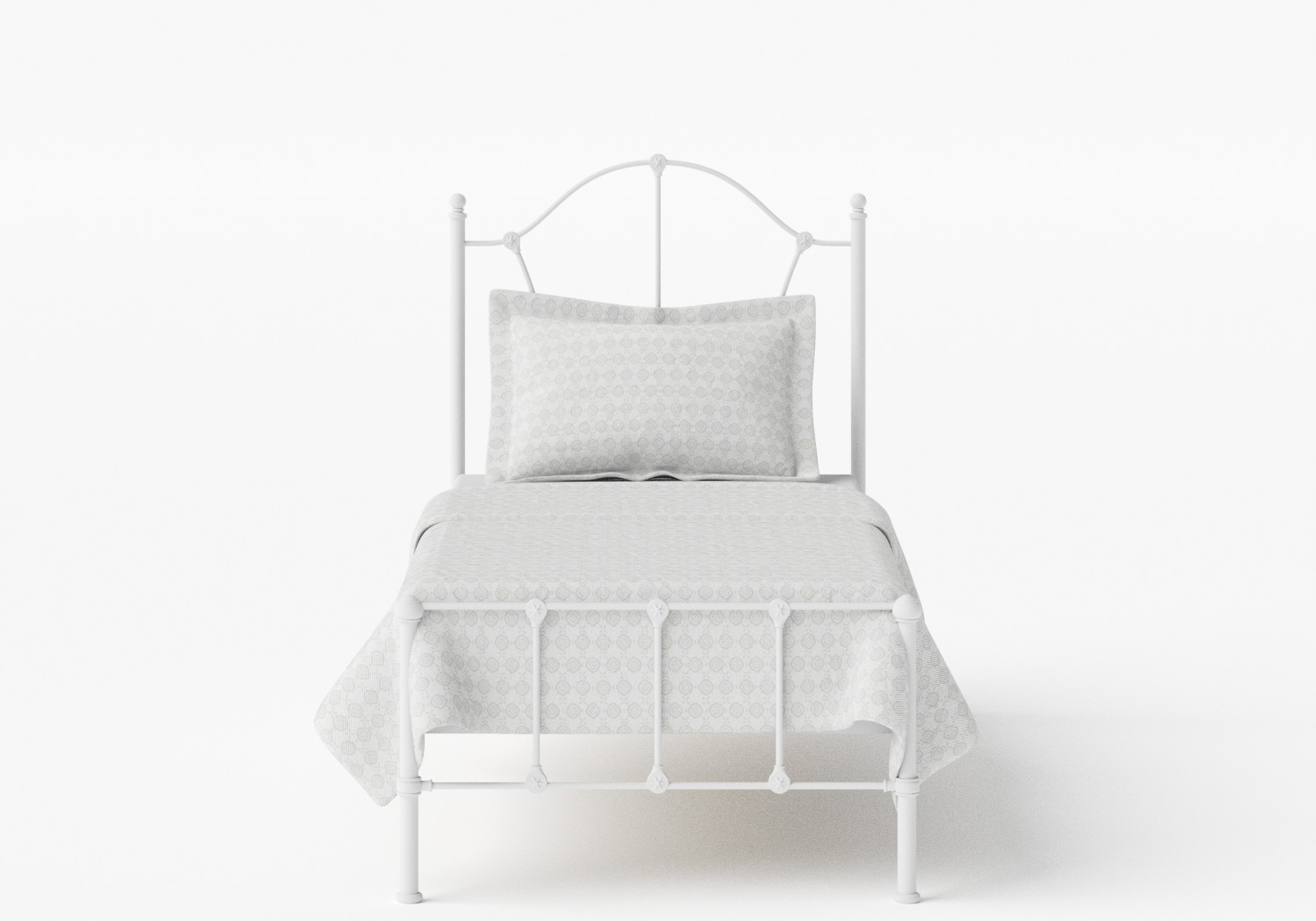 Claudia Single Iron/Metal Bed in Satin White
