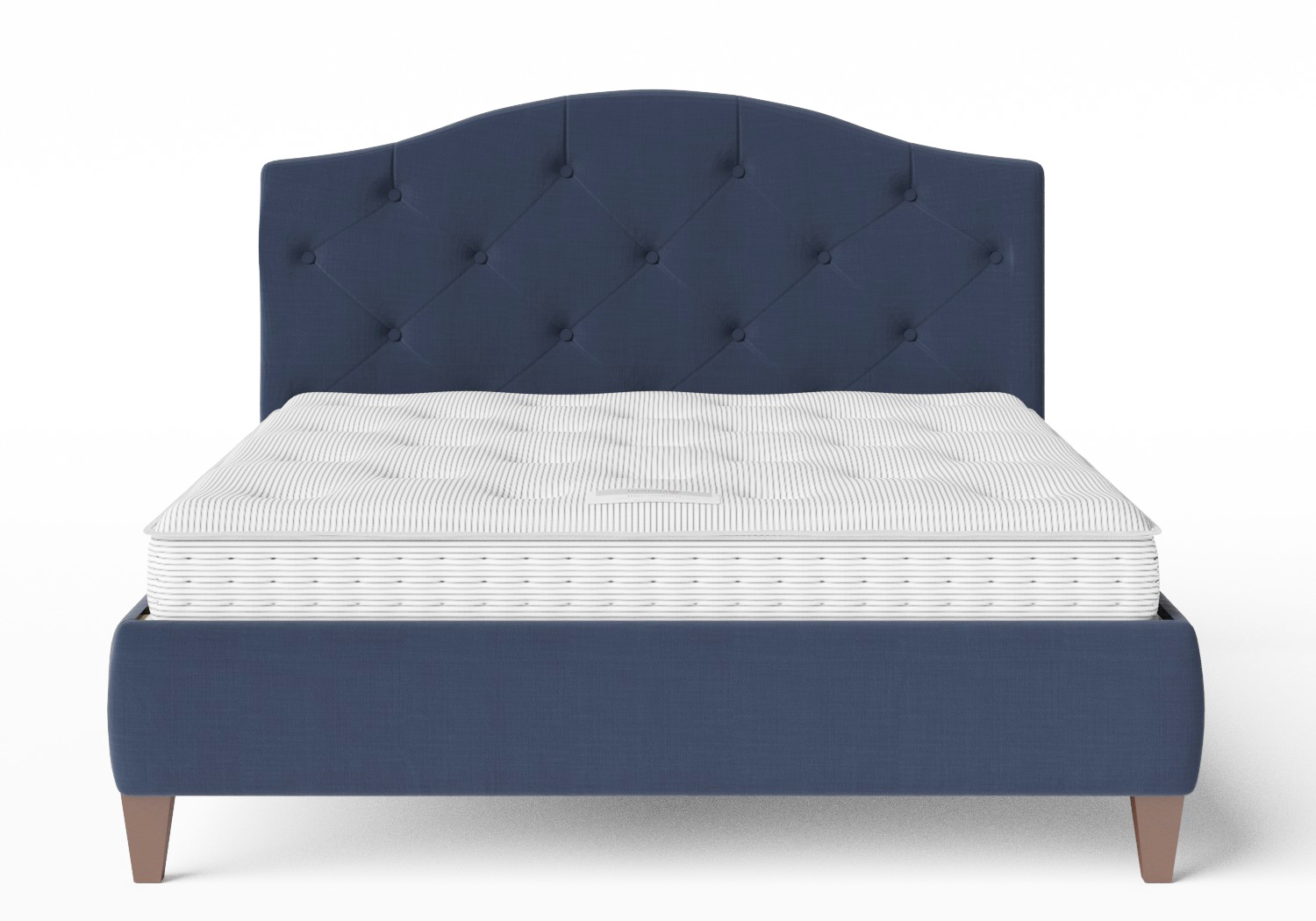 Daniella Upholstered bed in Navy fabric with buttoning shown with Juno 1 mattress