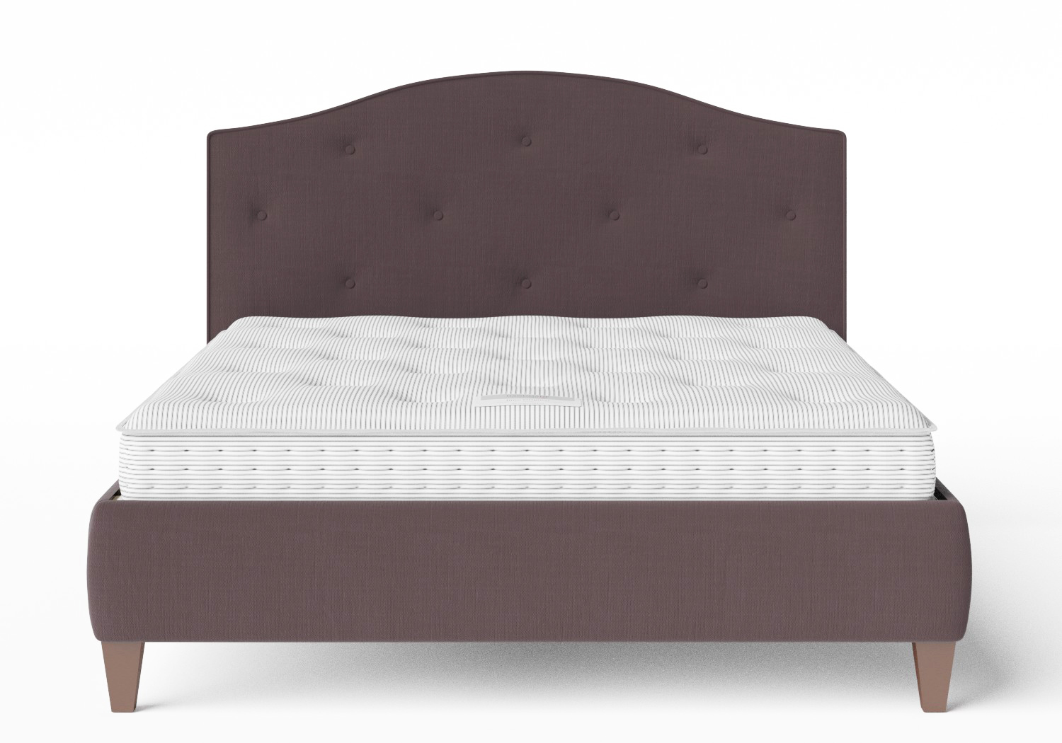Daniella Upholstered bed in Aubergine fabric with buttoning shown with Juno 1 mattress