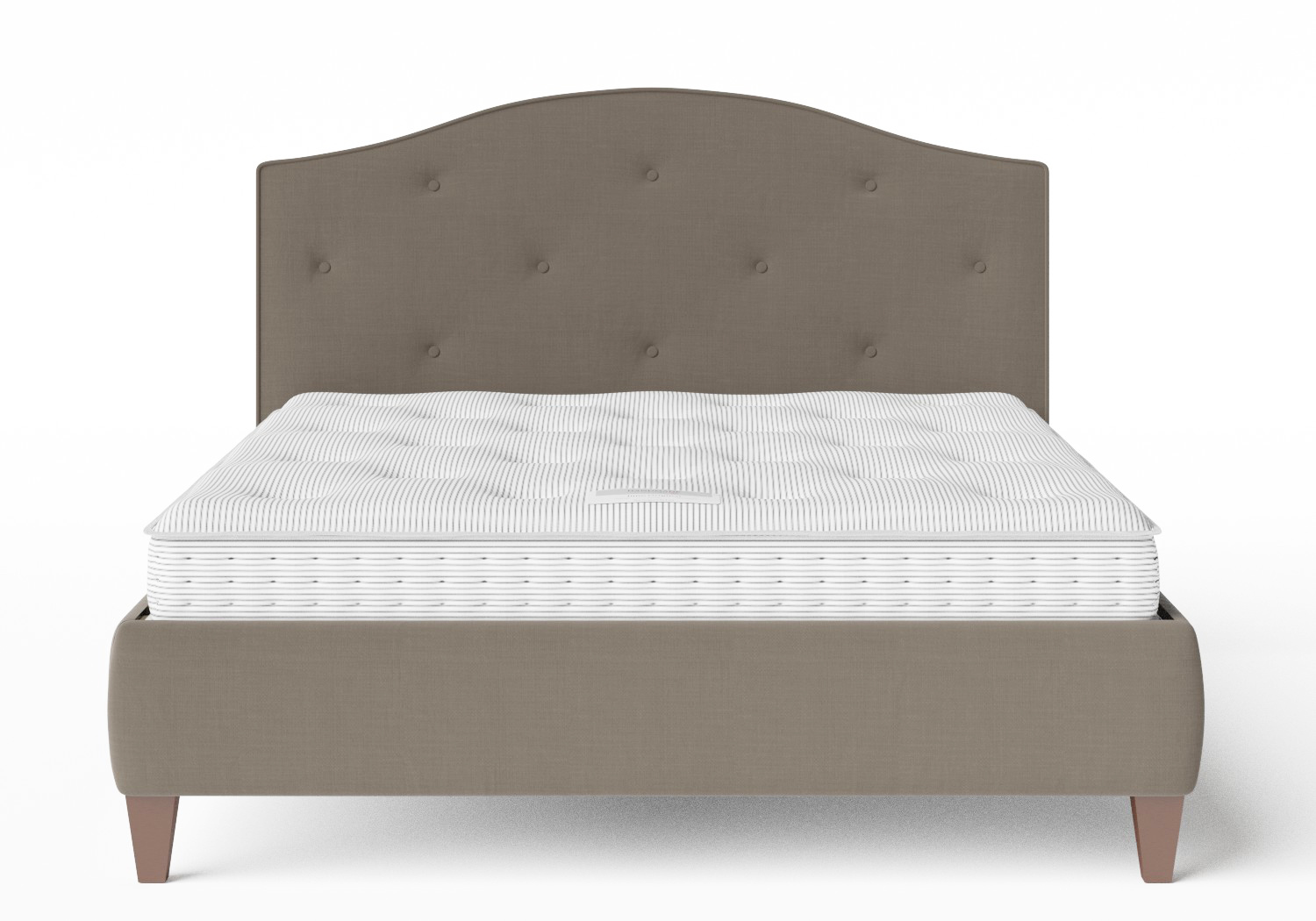 Daniella Upholstered bed in Grey fabric with buttoning shown with Juno 1 mattress