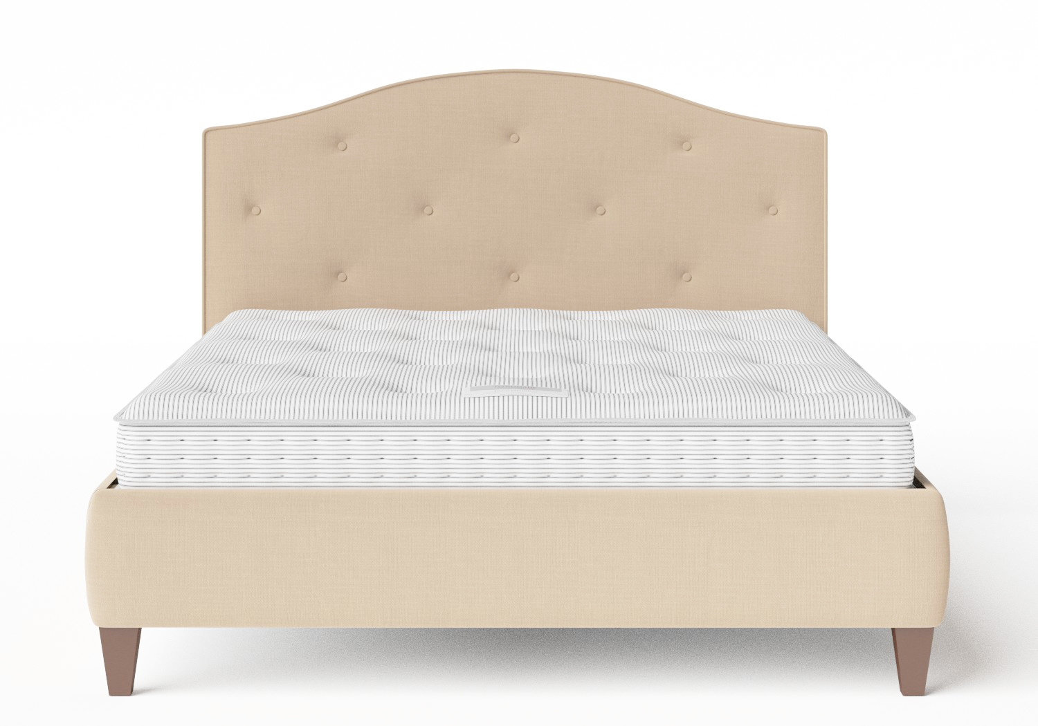 Daniella Upholstered bed in Natural fabric with buttoning shown with Juno 1 mattress