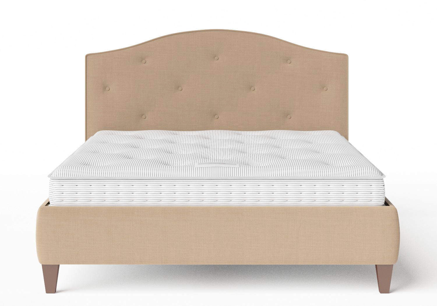 Daniella Upholstered bed in Straw fabric with buttoning shown with Juno 1 mattress