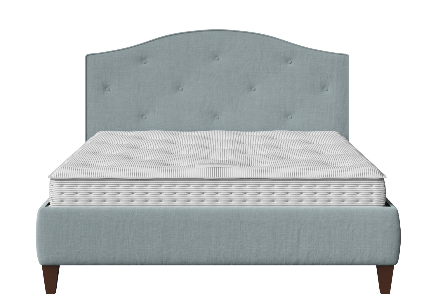 Daniella Upholstered bed in Wedgewood fabric with buttoning shown with Juno 1 mattress