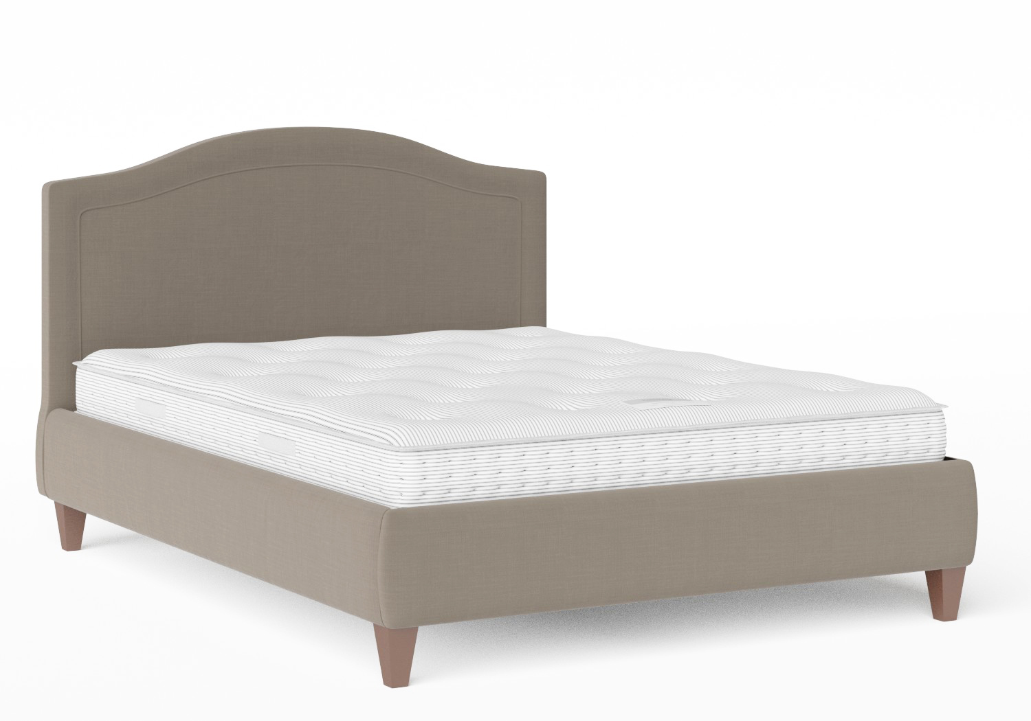 Daniella Upholstered bed in Grey fabric shown with Juno 1 mattress