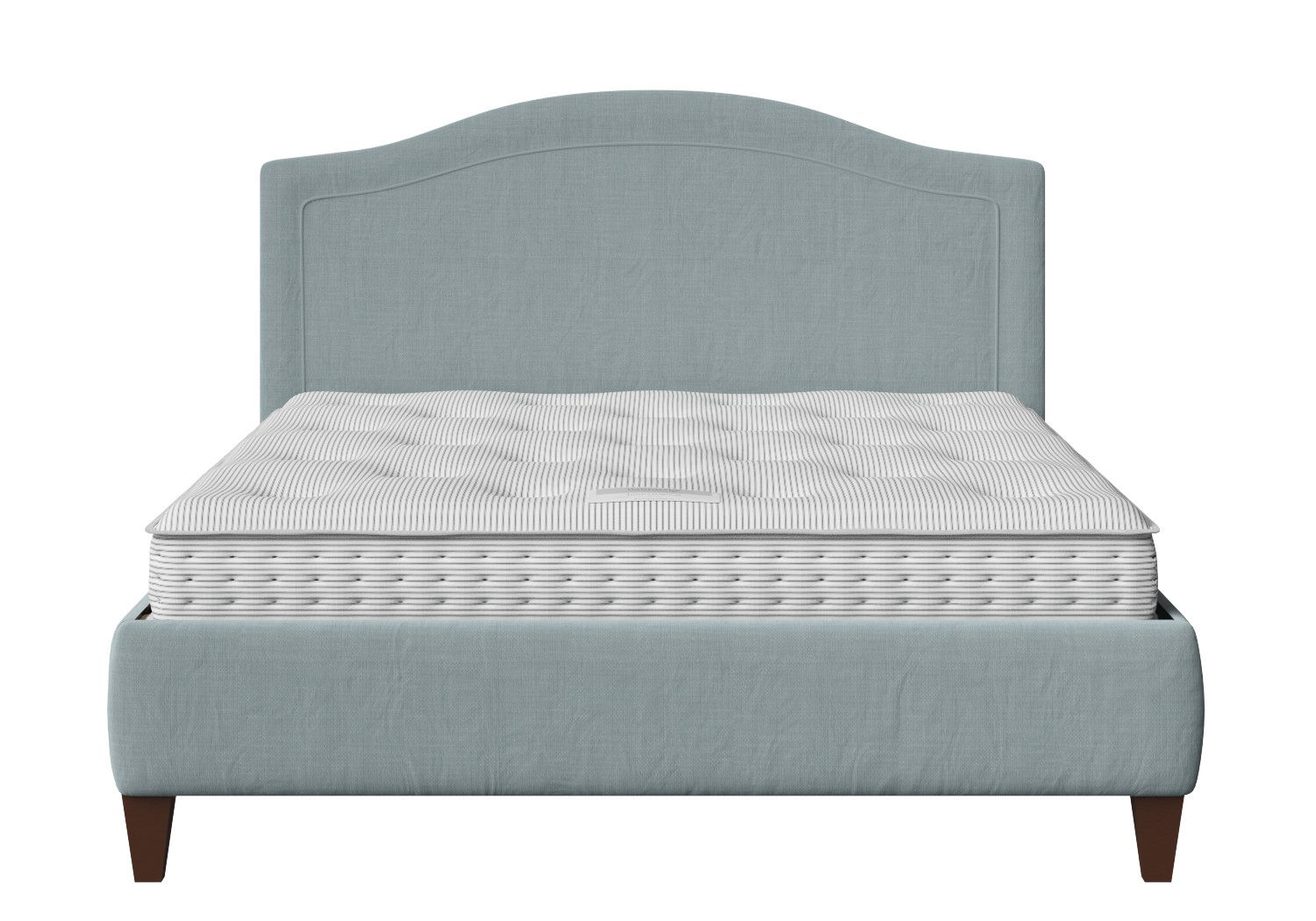 Daniella Upholstered bed in Wedgewood fabric shown with Juno 1 mattress