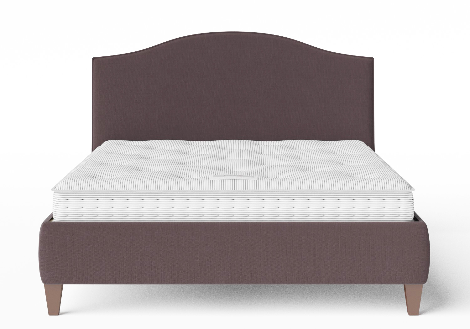 Daniella Upholstered bed in Aubergine fabric with piping shown with Juno 1 mattress