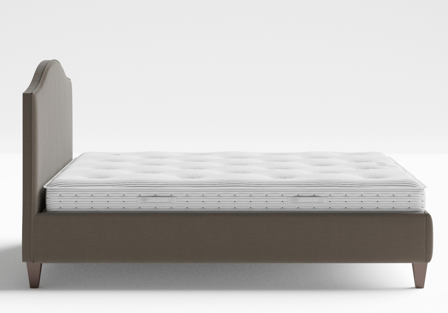Daniella Upholstered bed in Grey fabric with piping shown with Juno 1 mattress