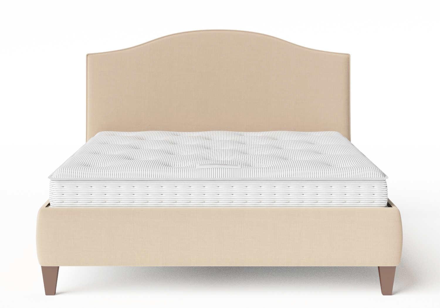 Daniella Upholstered bed in Natural fabric with piping shown with Juno 1 mattress