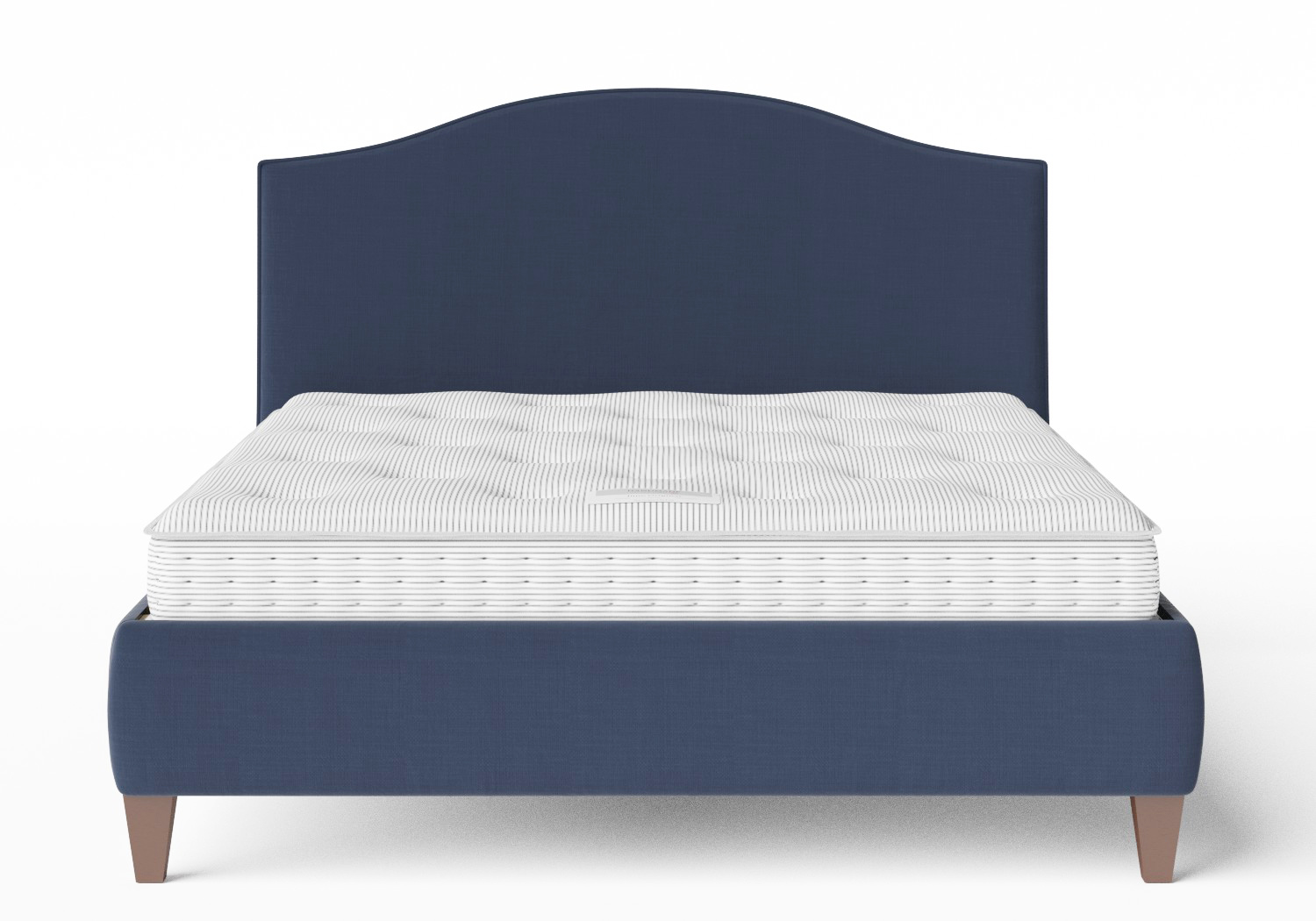 Daniella Upholstered bed in navy fabric with piping shown with Juno 1 mattress
