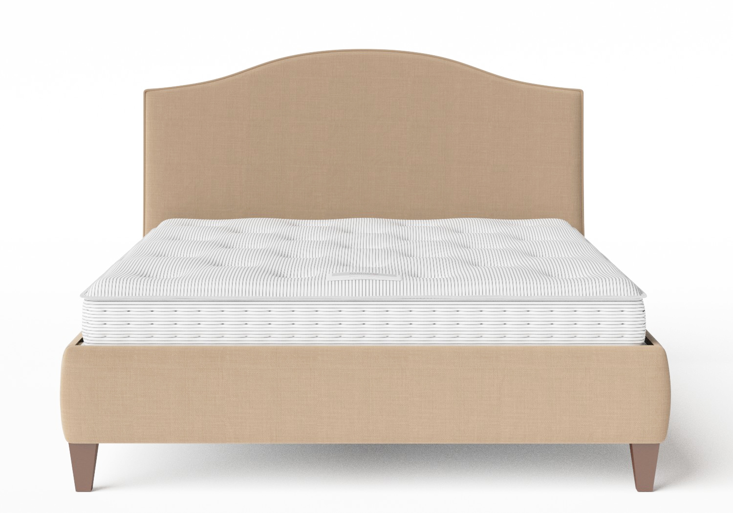 Daniella Upholstered bed in Straw fabric with piping shown with Juno 1 mattress