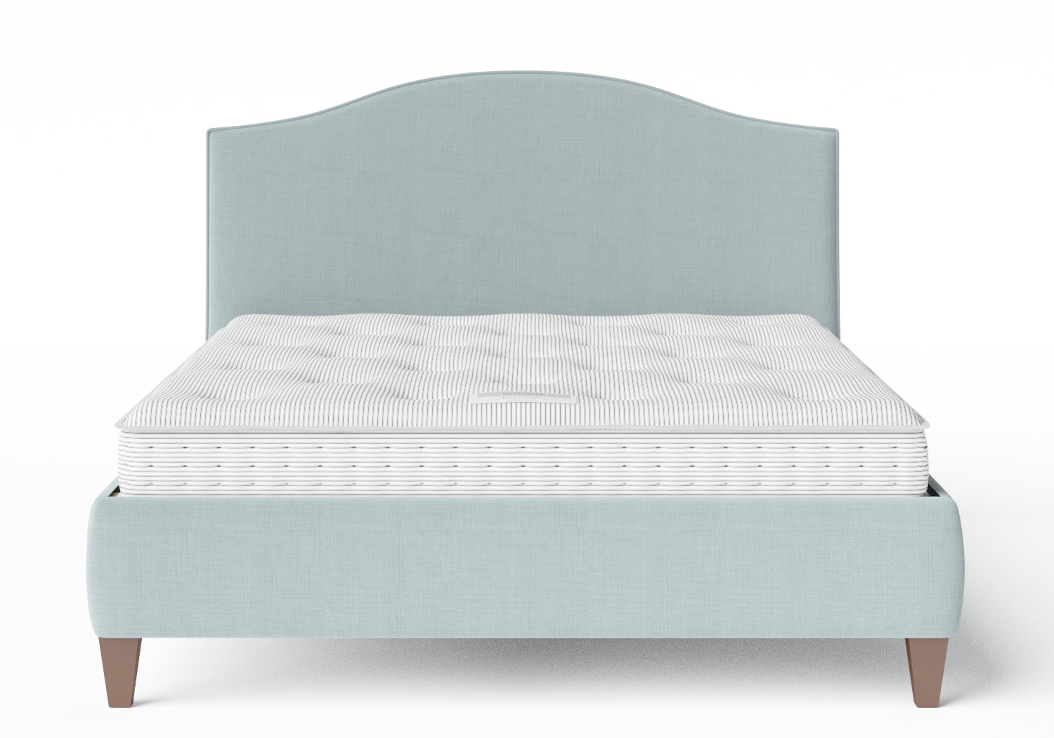 Daniella Upholstered bed in Wedgewood fabric with piping shown with Juno 1 mattress