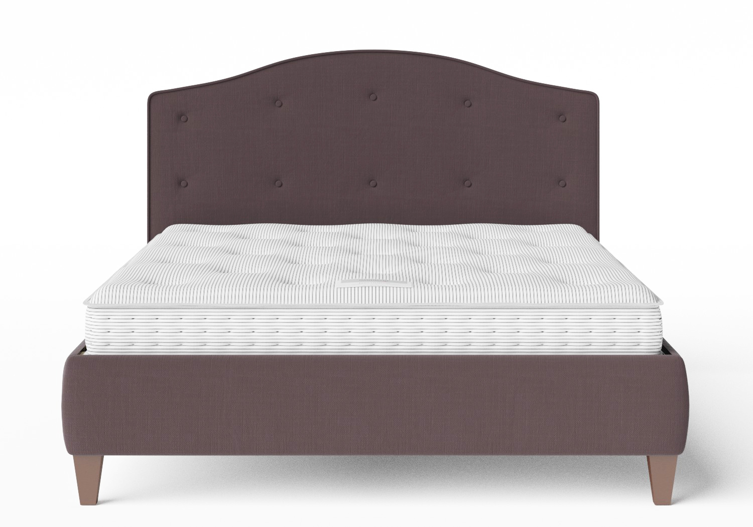 Daniella Upholstered bed in Aubergine fabric shown with Juno 1 mattress