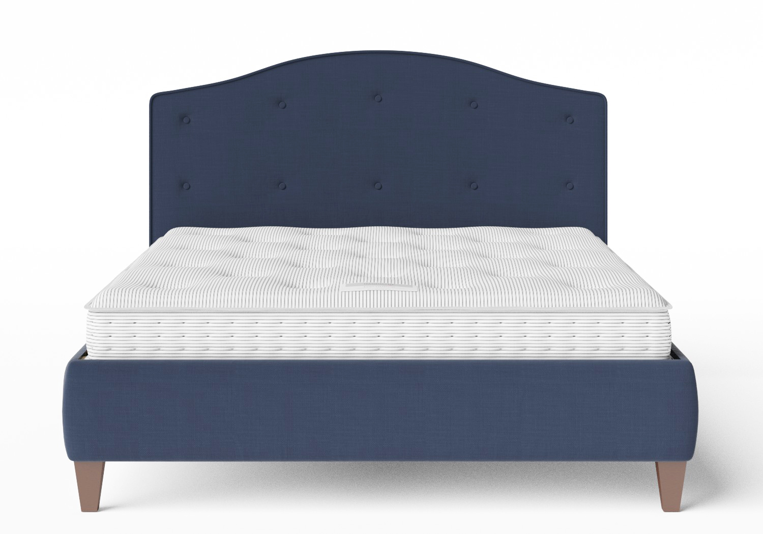 Daniella Upholstered bed in Navy fabric shown with Juno 1 mattress