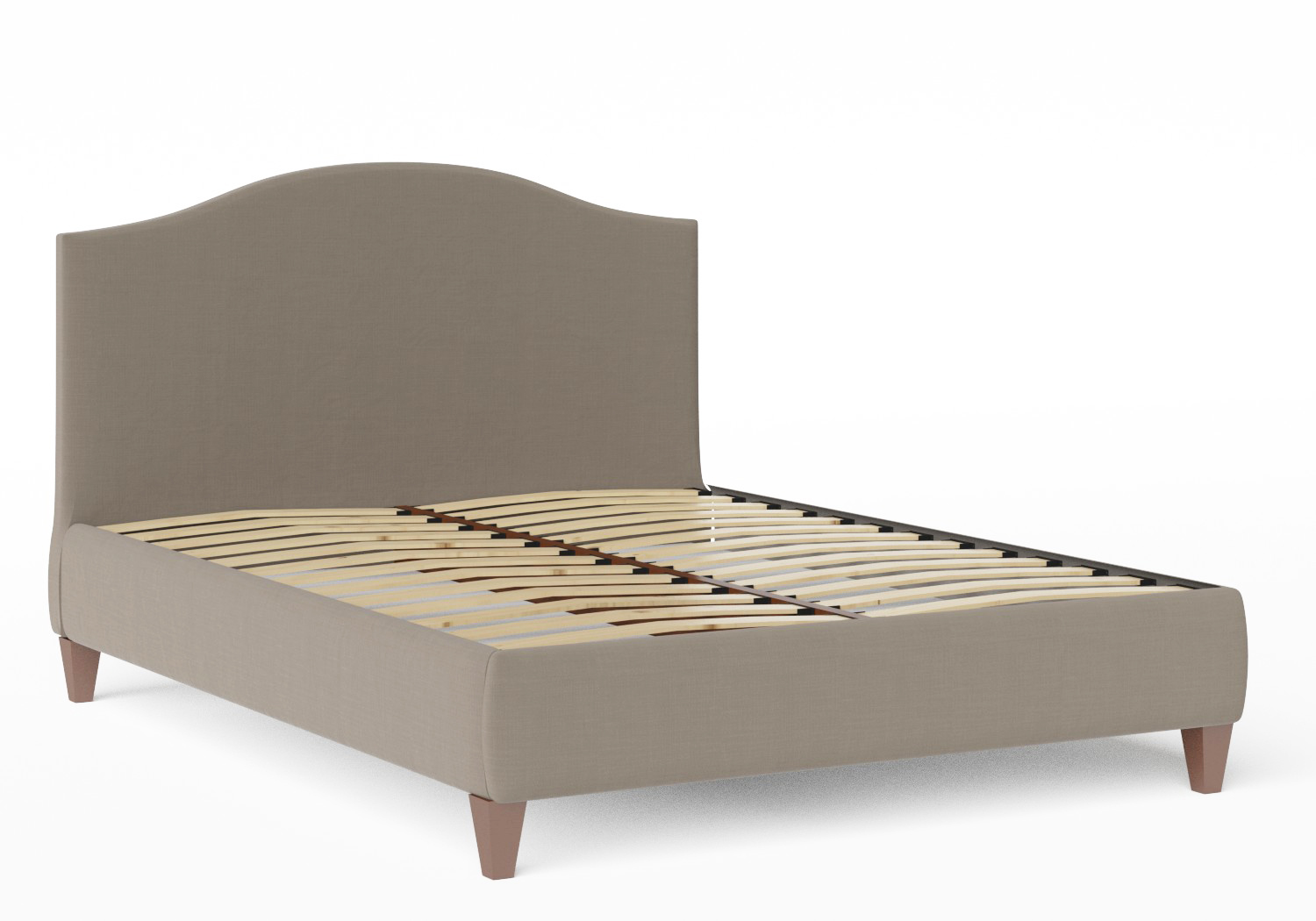 Daniella Upholstered bed in Grey fabric shown with slatted base