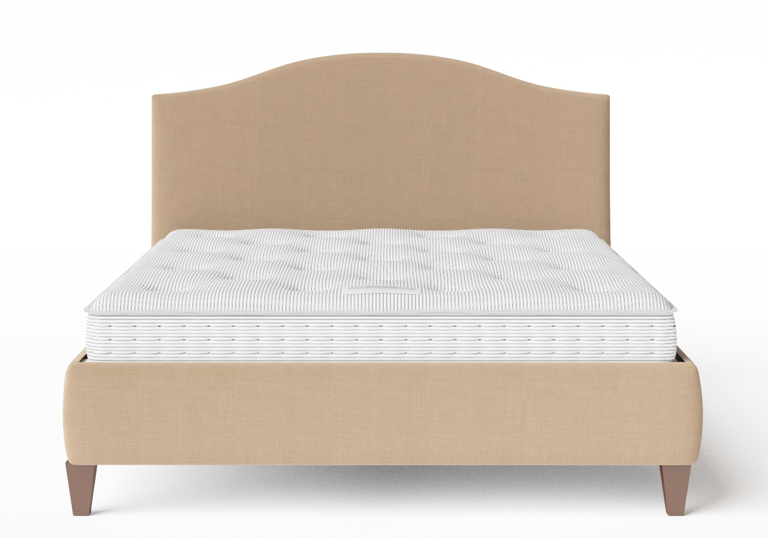 Daniella Upholstered bed in Straw fabric shown with Juno 1 mattress