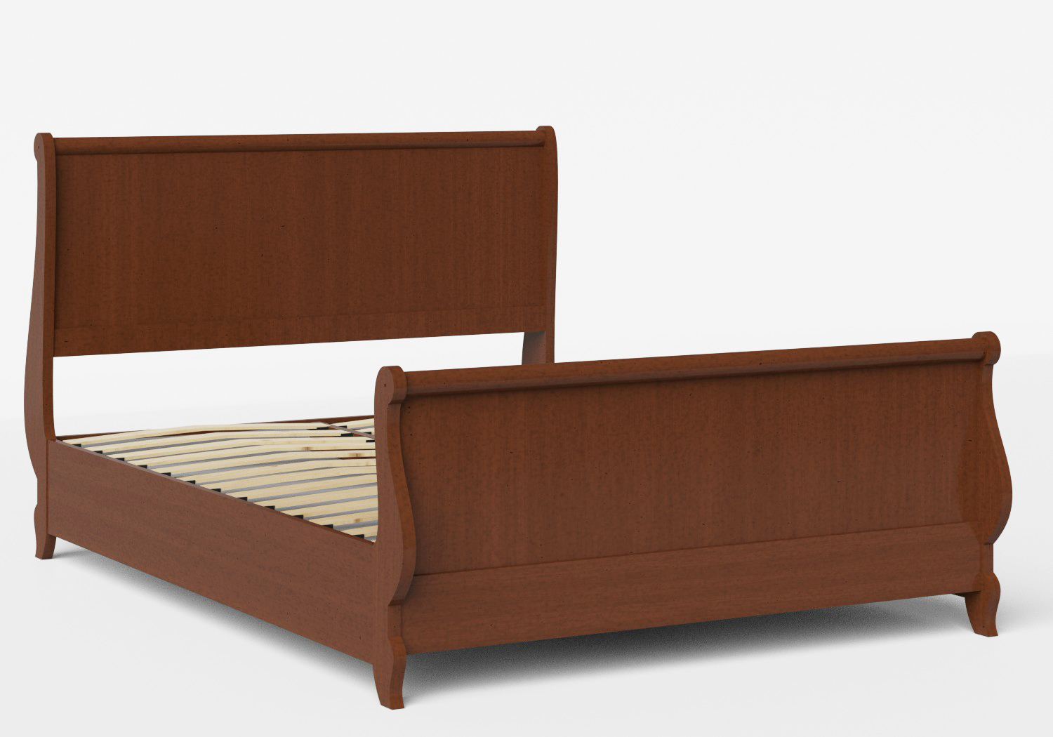 Elliot Wood Bed in Dark Cherry shown with slatted frame