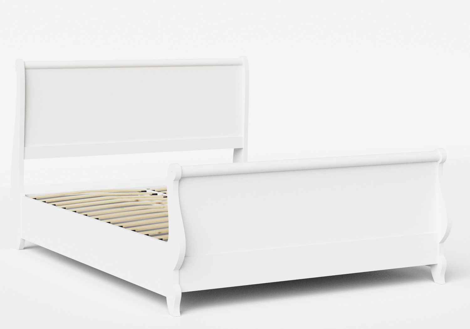 Elliot Wood Bed in White shown with slatted frame