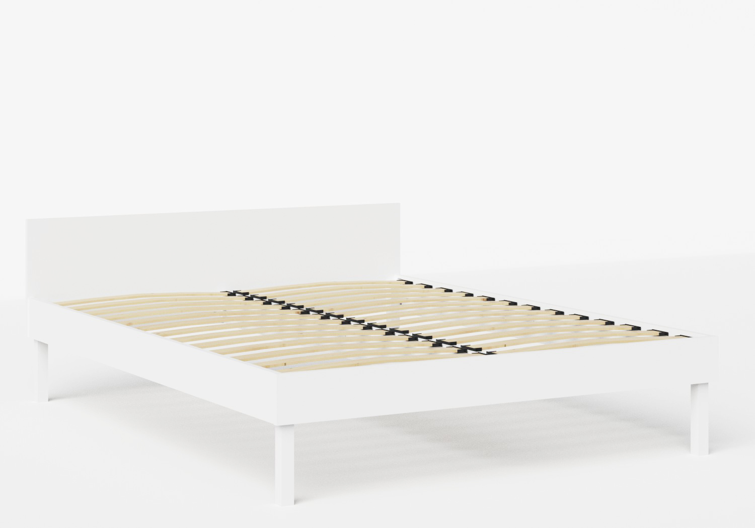 Fuji Wood Bed in White shown with slatted frame