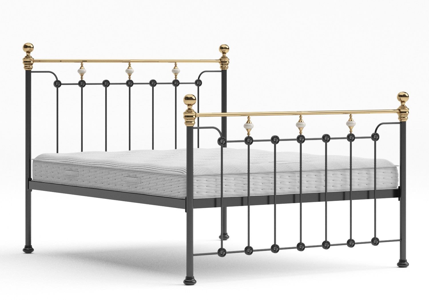 Glenholm Iron/Metal Bed in Satin Black with Brass details shown with Juno 1 mattress