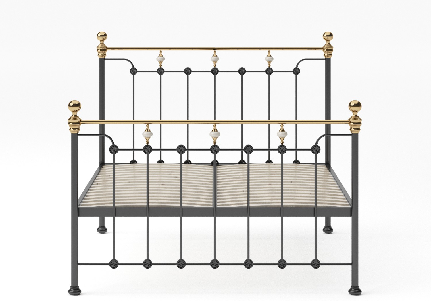 Glenholm Iron/Metal Bed in Satin Black with Brass details shown with slatted frame