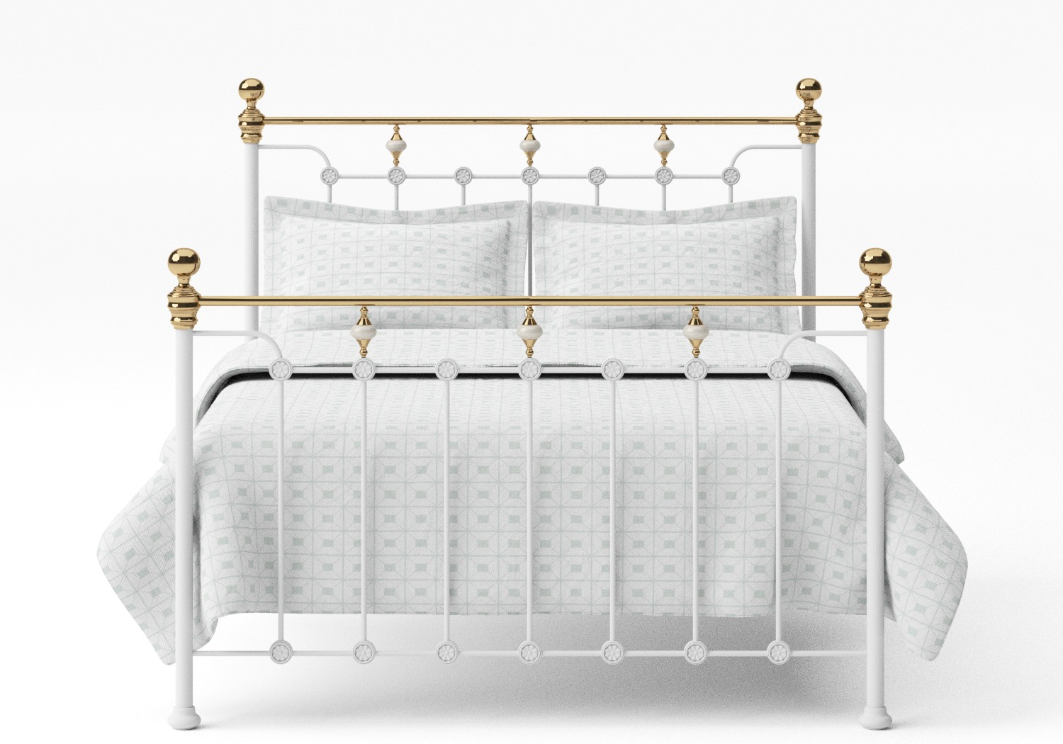 Glenholm Iron/Metal Bed in Satin White with Brass details
