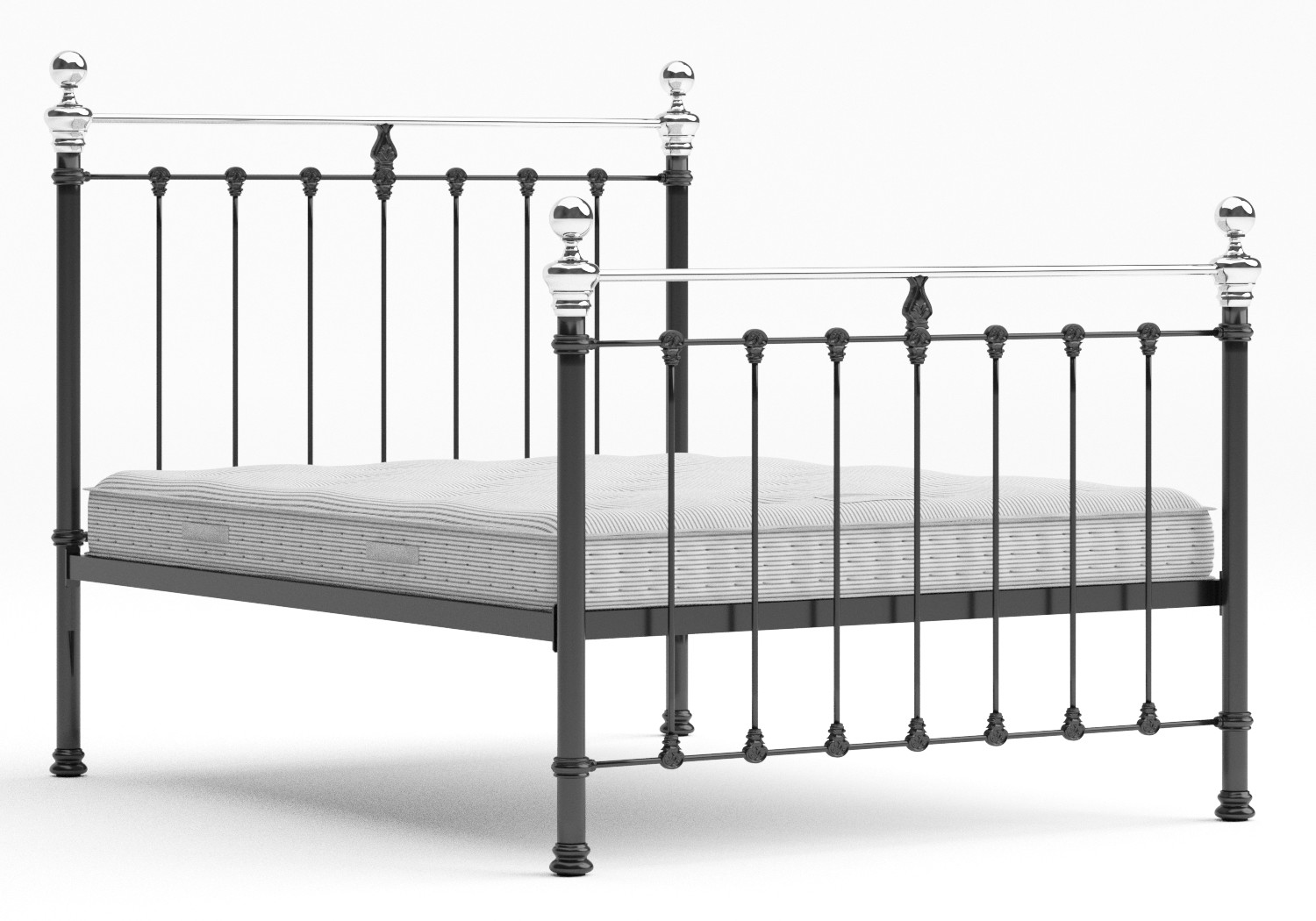 Hamilton Iron/Metal Bed in Satin Black with Chrome details shown with Juno 1 mattress