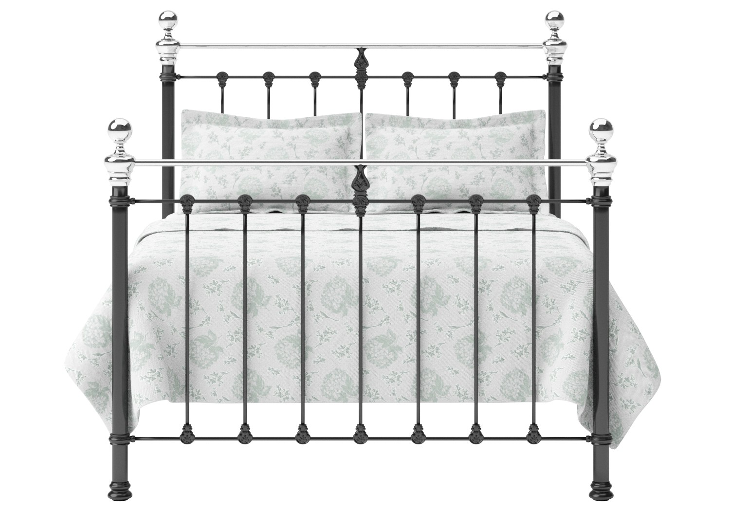 Hamilton Iron/Metal Bed in Satin Black with Chrome details