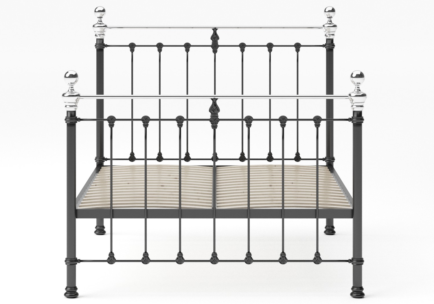 Hamilton Iron/Metal Bed in Satin Black with Chrome details shown with slatted frame