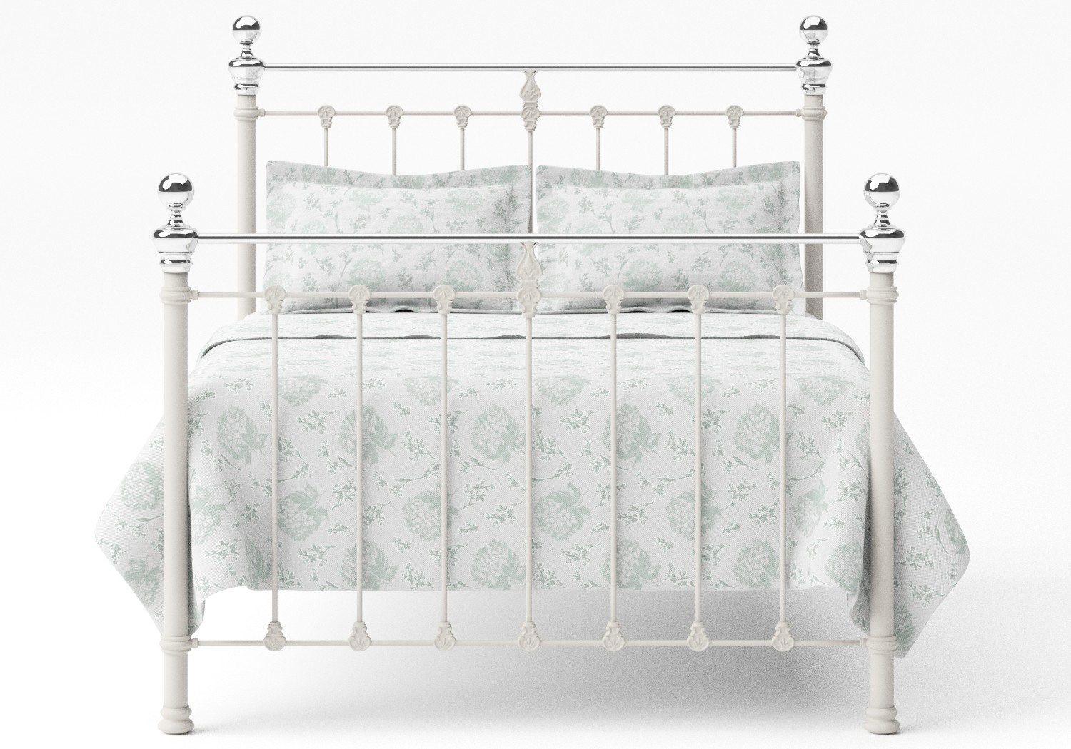 Hamilton Iron/Metal Bed in Glossy Ivory with Chrome details