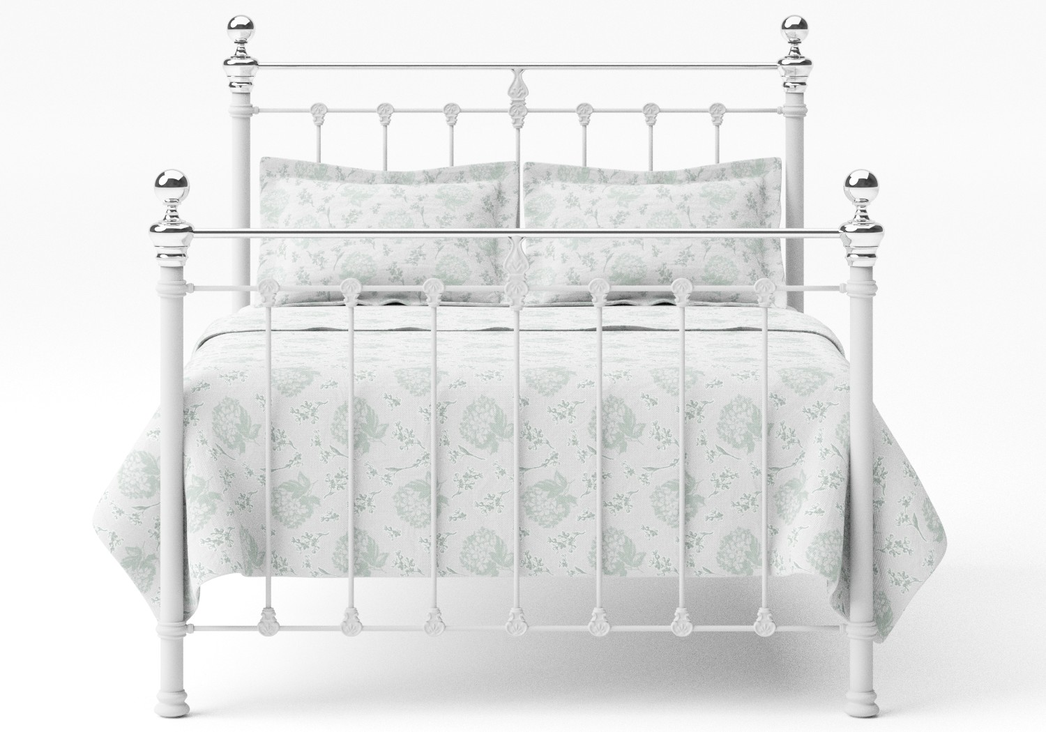 Hamilton Iron/Metal Bed in Satin White with Chrome details