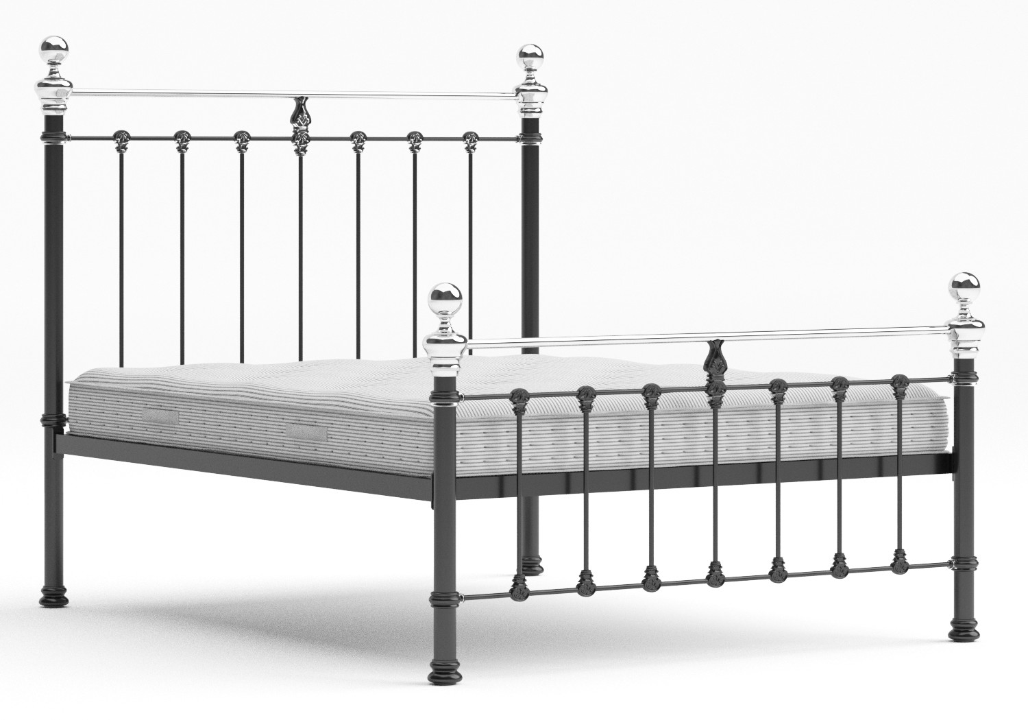 Hamilton Iron/Metal Bed in Satin Black with Chromed details