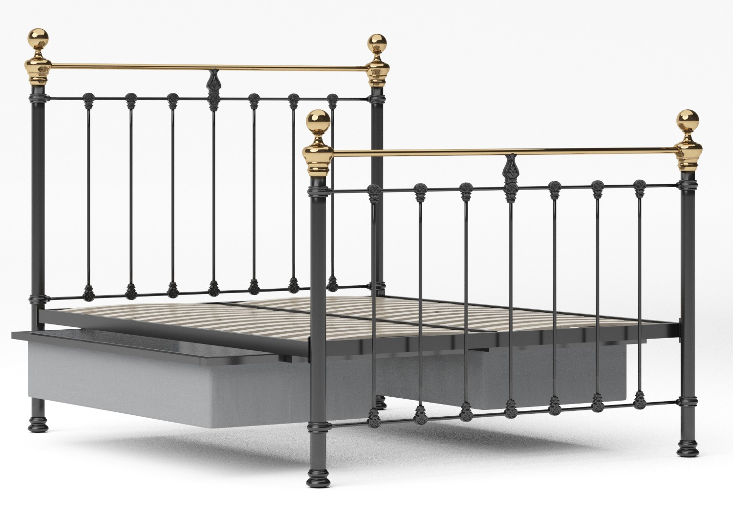 Hamilton Iron/Metal Bed in Satin Black with Brass details shown with underbed storage