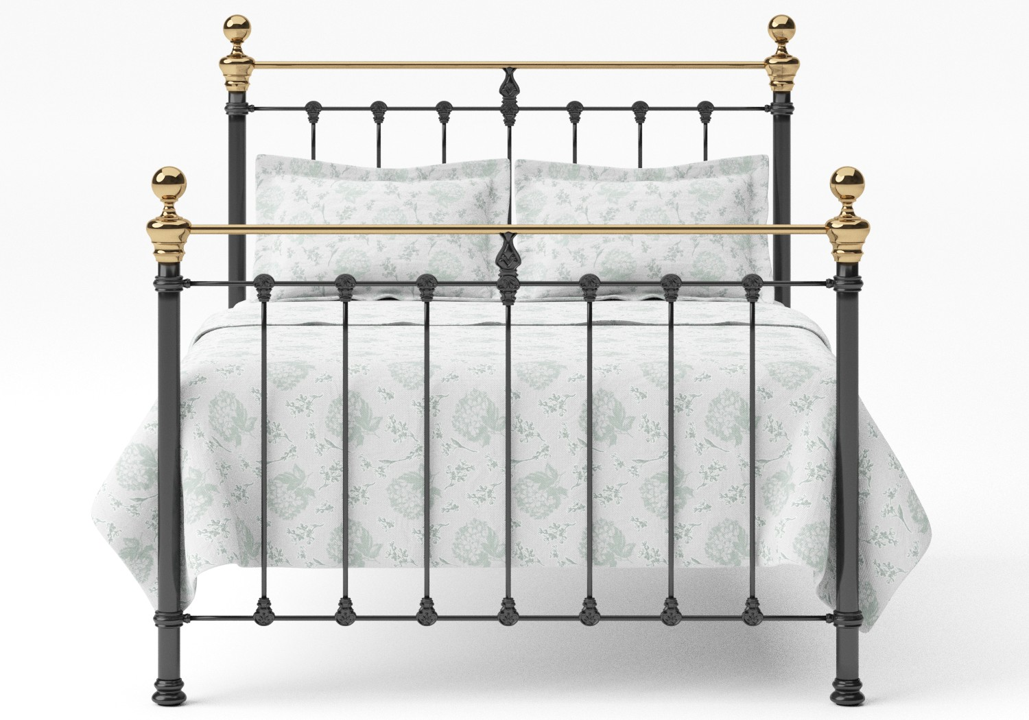 Hamilton Iron/Metal Bed in Satin Black with Brass details