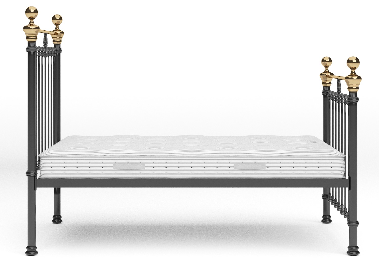 Hamilton Iron/Metal Bed in Satin Black with Brass details shown with Juno 1 mattress